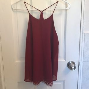 Soprano maroon halter swing top with lace